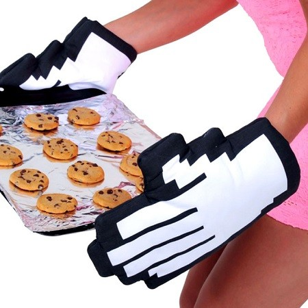 Holding Cookies With Pixelated Oven Mitts